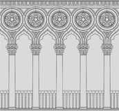 Linear vector illustration of the Venetian colonnade. Antique order and gothic Stock Image