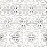Linear vector pattern, repeating abstract flower, gray line of leaf or flower, floral Stock Photo
