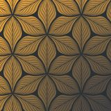 Linear vector pattern, repeating abstract gold leaves on dark background, linear of leaf or flower, floral. Graphic clean design for fabric, event, wallpaper stock illustration
