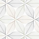 Linear vector pattern repeating abstract leaves or flower or flora in two tone color on hexagon shape. Clean design for fabric. Wallpaper, printing etc Stock Image