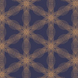 Linear vector pattern, repeating abstract leaves, golden line of flower, floral Stock Photo