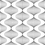 Linear vector pattern, repeating linear abstract leaves on garland. Stock Photo
