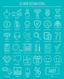 Linear web design icons. Line icons for business, web development and landing page. Flat design. Vector Stock Images