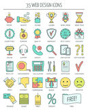 Linear web icons. Color moder line icons for business, web development and landing page. Flat design. Vector Stock Images