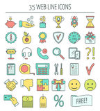 35 linear web icons. Color moder line icons for business, web development and landing page. Flat design. Vector Royalty Free Stock Image