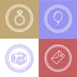 Linear wedding logos and icons. Outline design for invitations a Royalty Free Stock Images