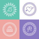 Linear wedding logos and icons. Outline design for invitations a Royalty Free Stock Photography