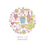 Linear wine bottle, glass, grape vine, leaf icons. Food and dri Stock Images