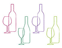 Linear wine set of bottle and glass Royalty Free Stock Images