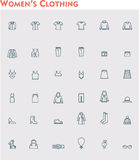 Linear women clothes icon set Royalty Free Stock Photography