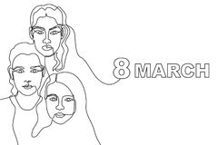 Happy International Women`s Day card. Continuous line drawing. Linear women faces and slogan 8 March Royalty Free Stock Image