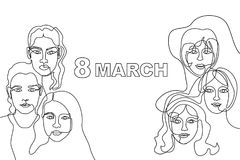 Happy International Women`s Day card. Continuous line drawing. Linear women faces and slogan 8 March Royalty Free Stock Photography