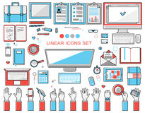 Linear workplace icons collection, flat style  objects set of a top view.  Signs hand gestures. Workspace Stock Photography