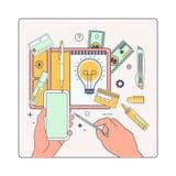 Linearart de travail de bureau et d'illustration de salaryVector Photos libres de droits