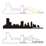 Lineare Art Austin-Skyline mit Regenbogen Lizenzfreies Stockbild