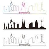 Lineare Art Barcelona-Skyline mit Regenbogen stock abbildung