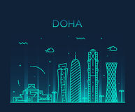 Lineare Art der Doha-Skylineschattenbild-Illustration Lizenzfreies Stockbild