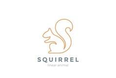 Lineare Art der Eichhörnchen-Logodesignvektor-Schablone lizenzfreie abbildung