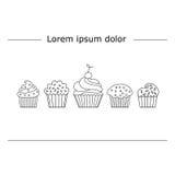 Lineare Art des kleinen Kuchens lizenzfreie abbildung