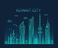 Lineare Art des Kuwait-Stadt Skylineschattenbild-Vektors Lizenzfreies Stockfoto