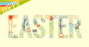 Lineare Art 2 Ostern-Aufschrift Stockbild