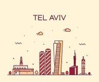 Lineare Art Tel Aviv-Skyline Israel-Vektors lizenzfreie abbildung
