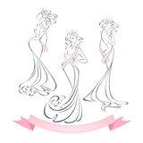 Lineare Artschattenbilder von schönen Mädchen in den Abendkleidern Stockfoto