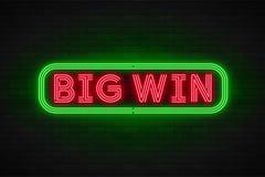 Lineare Förderungsfahne des Neonlichtes, Jackpot, Spiel, großer Gewinn vektor abbildung