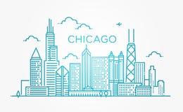 Lineare Fahne von Chicago-Stadt Lizenzfreies Stockfoto