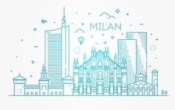 Lineare Fahne von Mailand-Stadt Lizenzfreies Stockfoto
