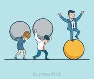 Lineare flache balancierende Ballfrau des Geschäftsmannes Lizenzfreies Stockbild