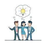 Lineare flache Geschäftsleute Idee, Lampenchatvektor Lizenzfreie Stockbilder