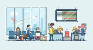 Lineare flache Leute auf Flughafenwartehallenvektor Lizenzfreie Stockfotografie