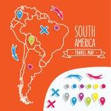 Lineare gezeichnete Reisekarte der Art Hand des Südens Stockfotos