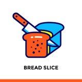 Lineare Ikone BROT-SCHEIBE der Bäckerei, kochend Piktogramm in der Entwurfsart Passend für bewegliche apps, Website und Designsch Stockfotografie