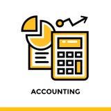 Lineare Ikone BUCHHALTUNG der Finanzierung, Bankwesen Piktogramm im Entwurf Stockfotografie