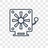 Lineare Ikone des Feuermelderkonzept-Vektors lokalisiert auf transparentem Ba vektor abbildung