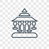 Lineare Ikone des Karussellkonzept-Vektors lokalisiert auf transparenter Rückseite lizenzfreie abbildung