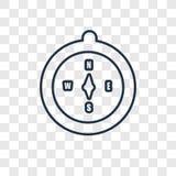 Lineare Ikone des Kompasskonzept-Vektors lokalisiert auf transparentem backg lizenzfreie abbildung