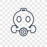 Lineare Ikone des Sicherheitsmaskenkonzept-Vektors lokalisiert auf transparentem b stock abbildung