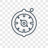 Lineare Ikone des Vektors des Kompassses Inc. lokalisiert auf transparentem backgroun vektor abbildung