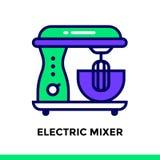 Lineare Ikone ELEKTROMIXER der Bäckerei, kochend Piktogramm im outl vektor abbildung