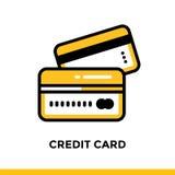 Lineare Ikone KREDITKARTE der Finanzierung, habend ein Bankkonto Piktogramm im outlin Lizenzfreie Stockfotografie