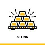Lineare Ikone MILLIARDE der Finanzierung, habend ein Bankkonto Piktogramm in Entwurfsst. Lizenzfreie Stockbilder