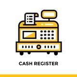 Lineare Ikone REGISTRIERKASSE der Finanzierung, habend ein Bankkonto Piktogramm im outl Lizenzfreies Stockfoto