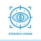 Lineare Ikone STRATEGIE-VISION der Finanzierung, habend ein Bankkonto Passend für MO Stockfoto