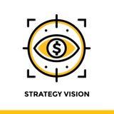 Lineare Ikone STRATEGIE-VISION der Finanzierung, habend ein Bankkonto Piktogramm in ou Stockfoto