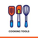 Lineare Ikone, welche die WERKZEUGE der Bäckerei, kochend KOCHT Piktogramm in der Entwurfsart Passend für bewegliche apps, Websit Lizenzfreie Stockbilder