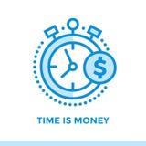 Lineare Ikone ZEIT IST GELD der Finanzierung, habend ein Bankkonto Passend für mobi Lizenzfreie Stockbilder