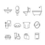 Lineare Ikonen der Badezimmerausrüstungen eingestellt Stockfotografie